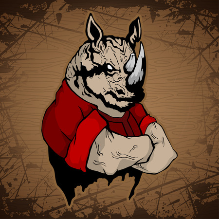 Strong rhinoceros image on a wooden background. Illustration