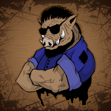 Strong boar image on a wooden background. Illustration