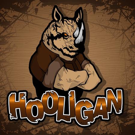 immagine di hooligan-rinoceronte su uno sfondo di legno.