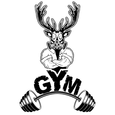 Vector design for a gym with an abstract depiction of a strong deer.