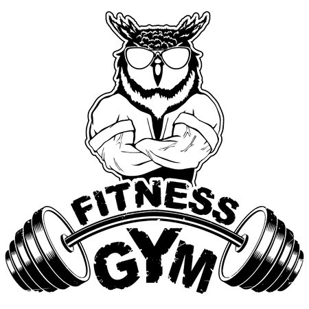 Vector design for a gym with an abstract image of a strong owl.
