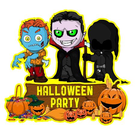 Halloween poster design with vector vampire, zombie, dark reaper character Vektorové ilustrace