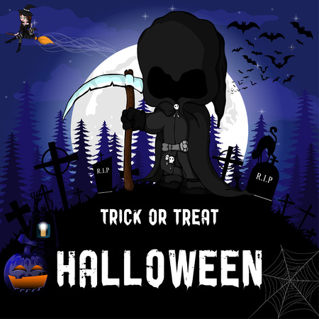Halloween Party Design template, with witch, dark peaper,  pumpkin and lamp