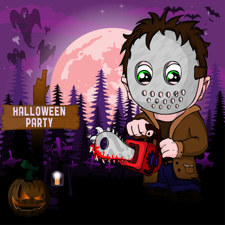 Halloween Party Design template, with serial killer with mask Çizim