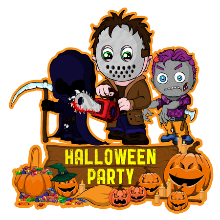 Halloween poster design with vector killer with mask, zombie, dark reaper character Ilustracja