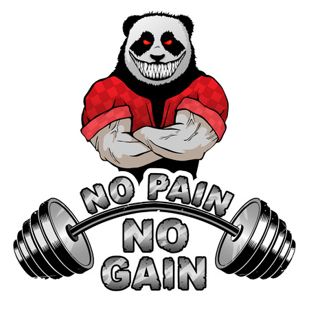 Vector illustration barbell and strong panda.