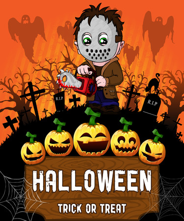 Poster of Halloween with serial killer with mask. Vector illustration.