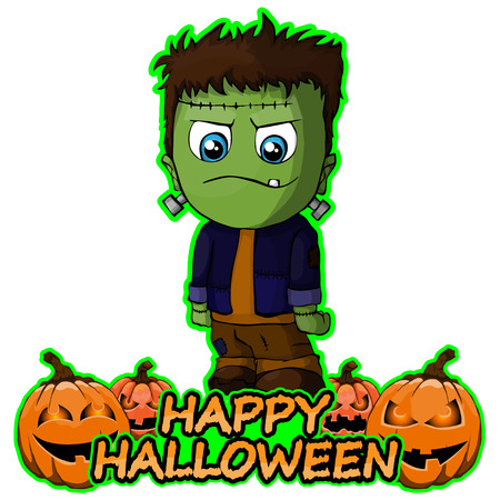 Frankenstein wishes happy halloween on isolated white background Vector Illustration