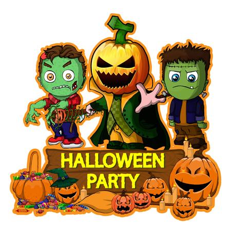 Halloween poster design with vector zombie, Frankenstein and Pumpkin Cartoon Characters 일러스트