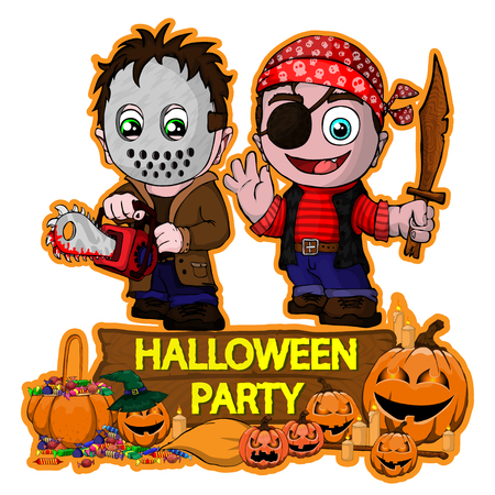 Halloween poster design with vector killer with mask and Pirate characters
