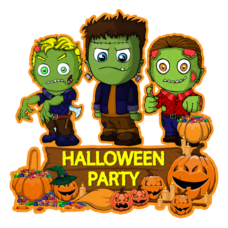 Halloween poster design with vector Frankenstein and zombie characters