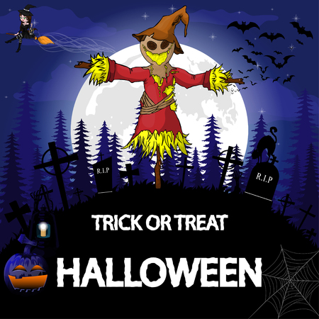 Halloween Party Design template, with scarecrow, witch, pumpkin and lamp