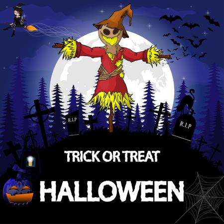 Plantilla de diseño de fiesta de Halloween, con espantapájaros, bruja, calabaza y lámpara