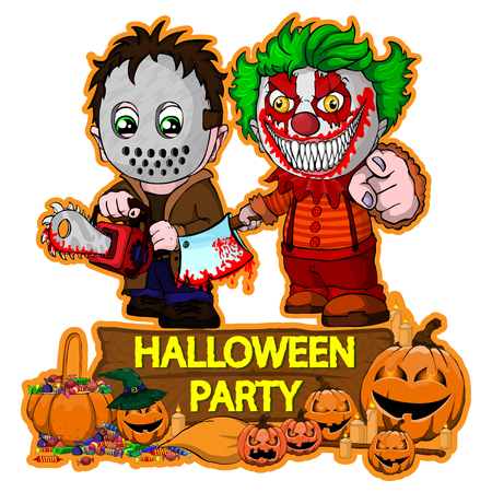 Halloween poster design with vector killer with mask and evil clown characters