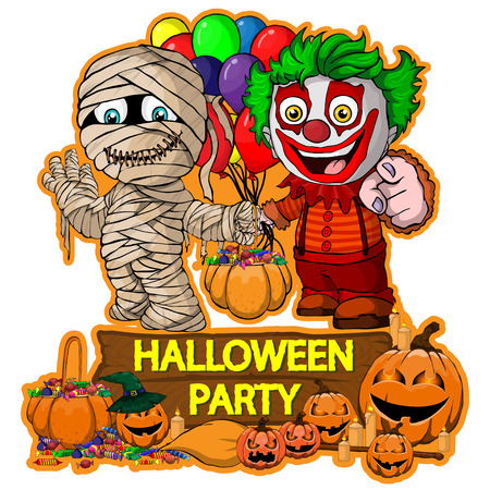 Halloween poster design with vector mummy and clown characters Illustration