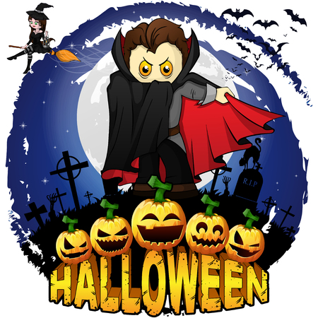 Halloween  Design template with Graf Dracula. Vector illustration.