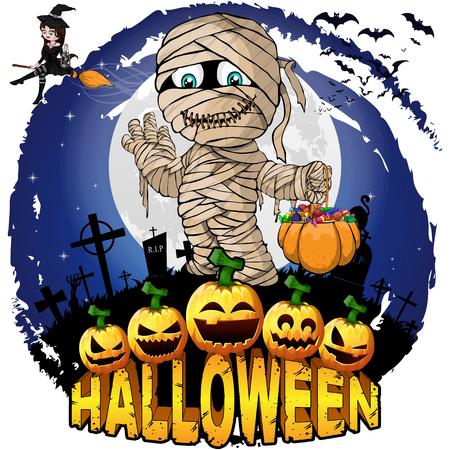 Halloween Design template with mummy. Vector illustration.