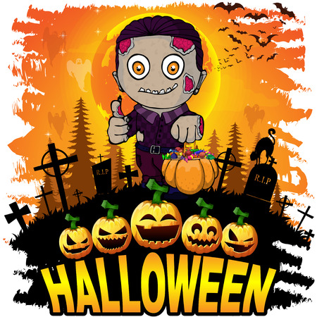 Colorful halloween cartoon greeting card with scary zombies.