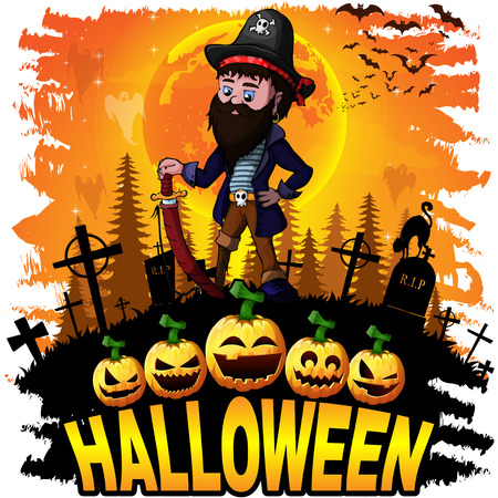 Halloween Design template with Pirate. Vector illustration.