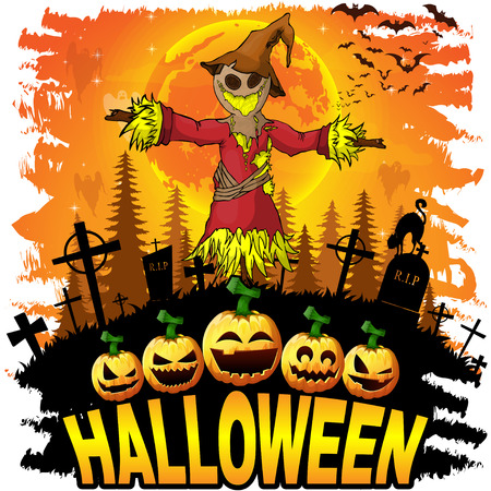 Halloween Design template with scarecrow. Vector illustration.