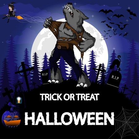 Halloween Party Design template with werewolf, witch, pumpkin and lamp.