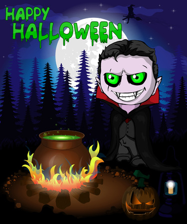 Halloween poster with  vampire in forest. Vector illustration. Archivio Fotografico - 109430986