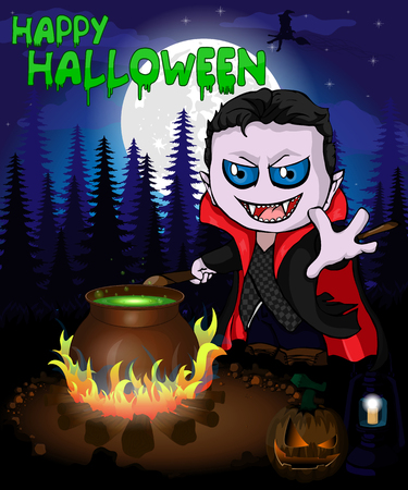 Halloween poster with  vampire in forest. Vector illustration.