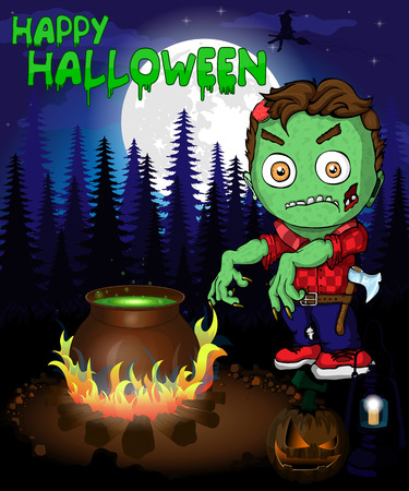 Halloween poster with  zombie in forest. Vector illustration. Archivio Fotografico - 109430988