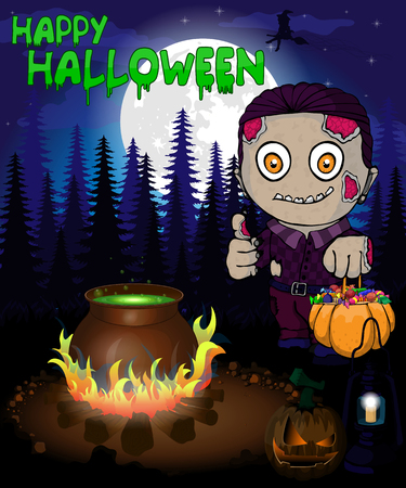 Halloween poster with  zombie in forest. Vector illustration.