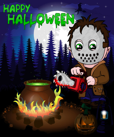 Halloween poster with  killer with mask in forest. Vector illustration. Vettoriali