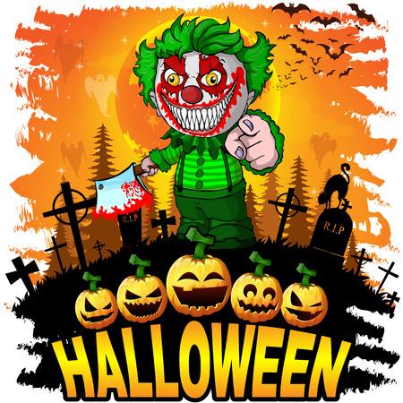 Halloween Design template with evil clown. Vector illustration.