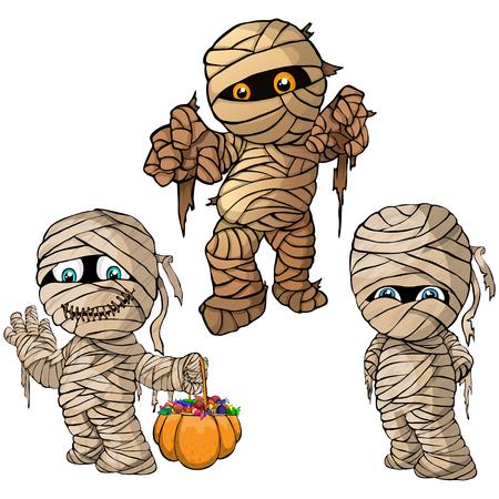 Vector isolated illustration of a set mummy for Halloween Ilustração