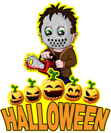 Halloween Poster with killer with mask. Ilustração
