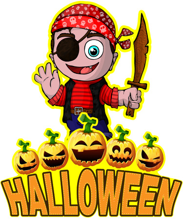 Halloween-Plakat mit nettem Karikaturpiraten.