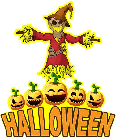 Halloween Poster with Scarecrow. Ilustración de vector