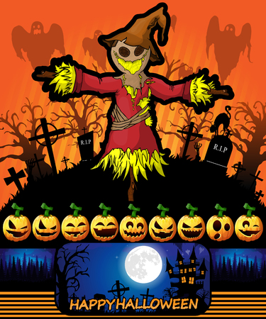 Halloween poster with scarecrow. Vector illustration.