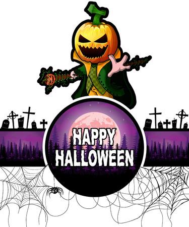 Happy Halloween Design template with Pumpkin Cartoon Character. Vetores