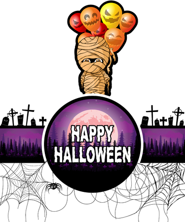 Happy Halloween Design template with mummy with balloons. Vettoriali