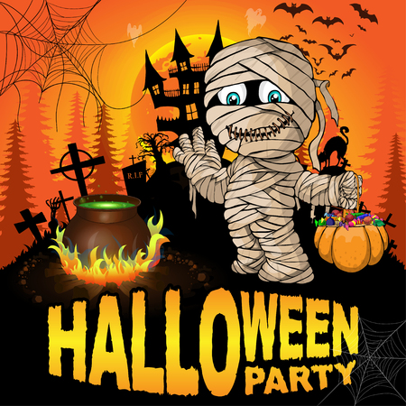 Halloween Party Poster with mummy. Vector illustration.