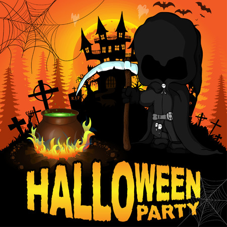 Halloween Party Poster with dark reaper. Vector illustration.