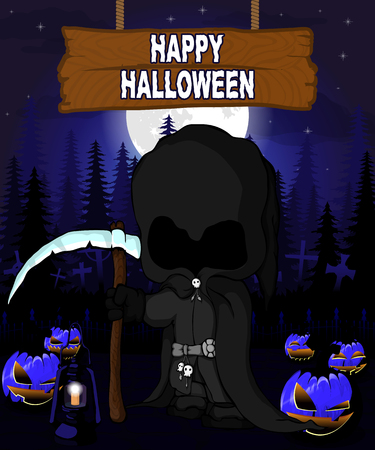Halloween Design template with dark reaper.
