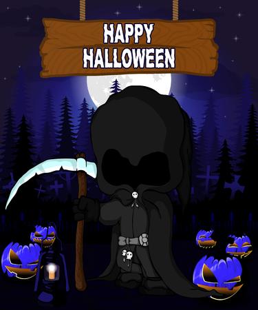 Halloween Design template with dark reaper.
