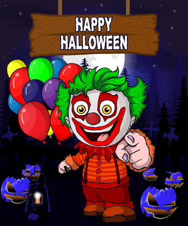 Halloween Design template with clown with balloons. Vetores