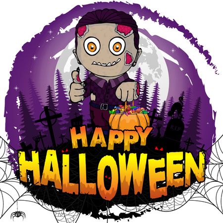 Happy Halloween poster with  zombie. Vector illustration.