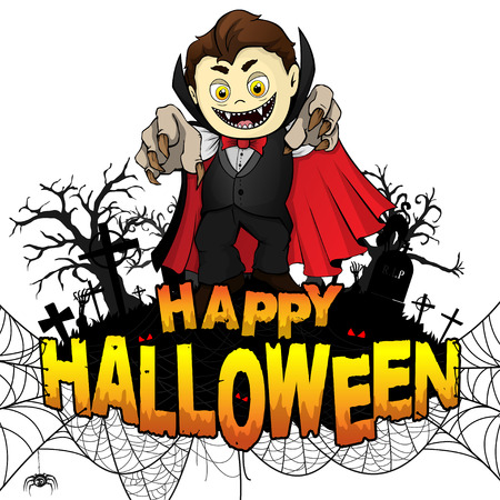 Happy Halloween  Design template with Graf Dracula on white isolated background. Vector illustration. Ilustração