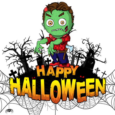 Happy Halloween poster with  zombie on white isolated background.. Vector illustration.