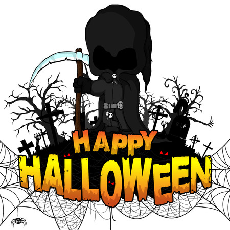 Happy Halloween Party Poster with dark reaper on white isolated background. Vector illustration. 向量圖像