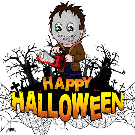 Happy Halloween  Design template with killer on white isolated background. Vector illustration. Illustration