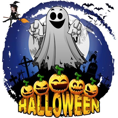 Plantilla de diseño de Halloween con fantasma. Ilustración de vector.