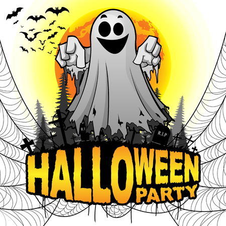 Halloween Party Poster with ghost on a white isolated background. Vector illustration. Standard-Bild - 115205714